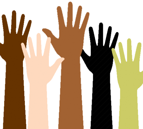 Raised Hands graphic for