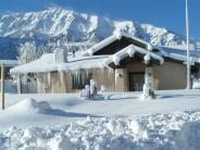 Winter Frosted Crowley Lake Community Center